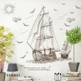Two Brown Ships Wall Sticker - YASH815