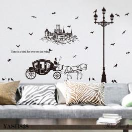 Black Horse Cart Wall Sticker - YASH828