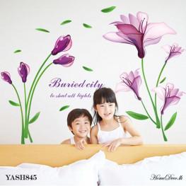 Shiny Purple Flower Wall Sticker - YASH845