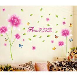 Cute Pink Flower Wall Sticker - YASH847