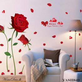 Red Rose Wall Sticker - YASH849