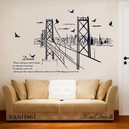 Black Bridge n City Wall Sticker - YASH861