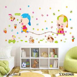 Puppies Playing Wall Sticker - YASH866