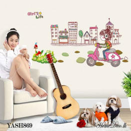 Girl Ride Bike Wall Sticker - YASH869