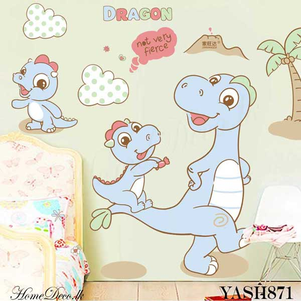 Dragon Family Kids Wall Sticker - YASH871
