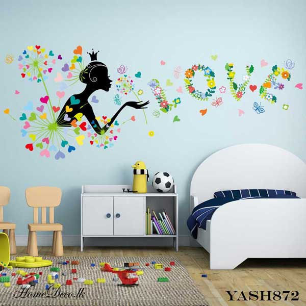Cute Flower Girl Wall Sticker - YASH872