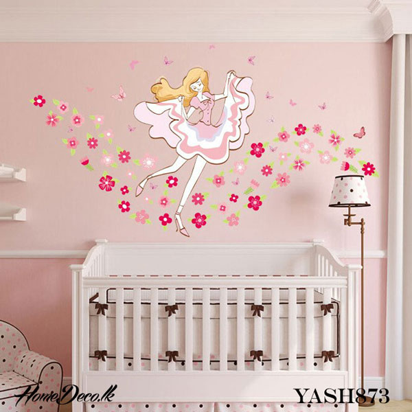Pink Dancing Girl Wall Sticker - YASH873