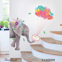 Elephant With Balloons Sticker - YASH886