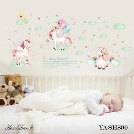White Unicorn Kids Wall Sticker - YASH890