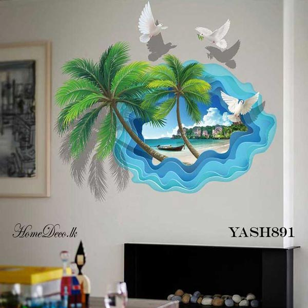 Beach Theme 3D Wall Sticker - YASH891