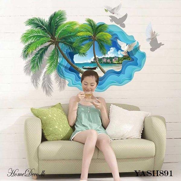 Beach Theme 3D Wall Sticker - YASH891