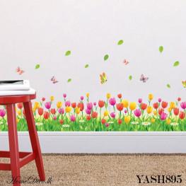 Tulip Flower Fence Wall Sticker - YASH895