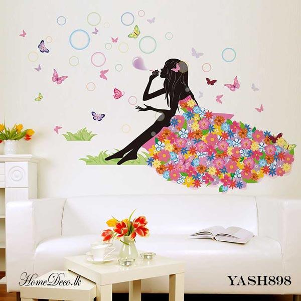 Flower Girl Wall Sticker - YASH898