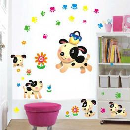 Cute Puppies Kids Wall Sticker - YASH900