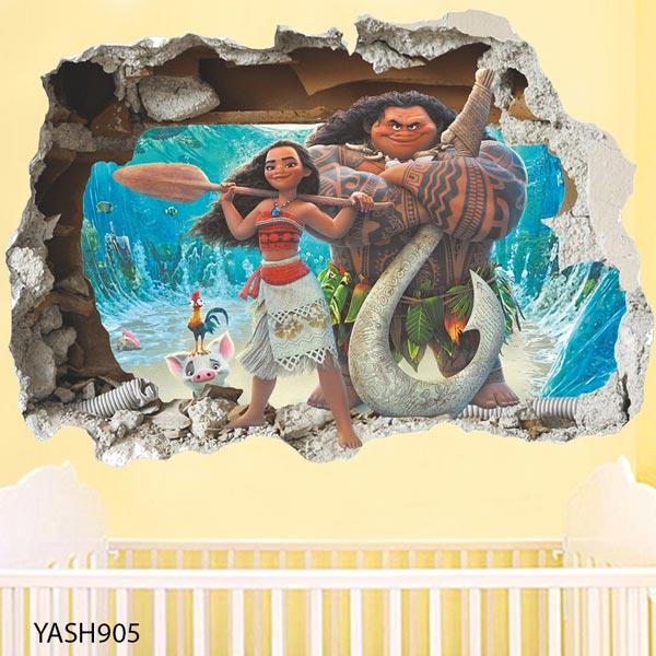 Moana Cartoon 3D Wall Sticker - YASH905