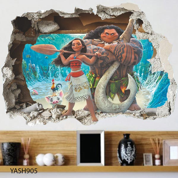 Moana Cartoon 3D Wall Sticker - YASH905
