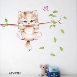 Cute Kitty Kids Wall Sticker - YASH910