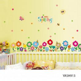 Smiling Flowers Kids Wall Sticker - YASH913