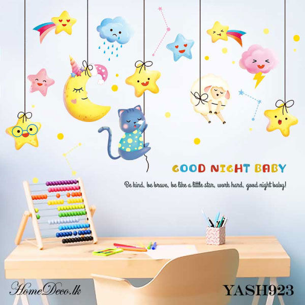 Kitty with Stars Baby Wall Sticker - YASH923