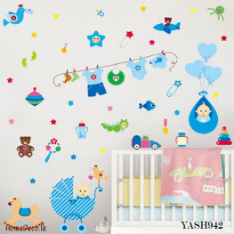 Baby Shower Blue Wall Sticker - YASH942