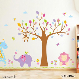 Tree With Animals Wall Sticker - YASH943
