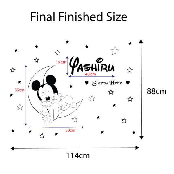 Baby Mickey Sleeps Wall Sticker - C1026