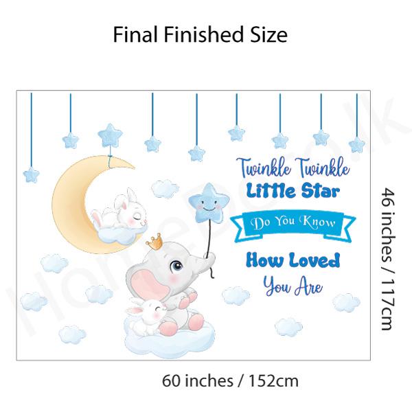 Moon and Star Nursery Decal - C1036